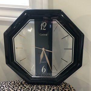 Wall clock clear and black octagon